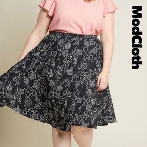 Modcloth 2X Black illustrated Floral Skirt